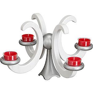 Lichterwelt Adventsleuchter Adventsleuchter, Esche, weiß lasiert - 33x20 cm