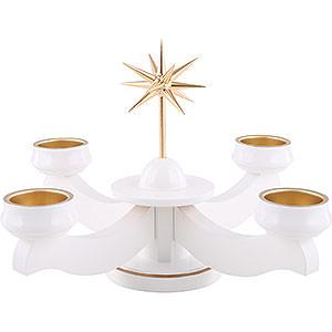 Lichterwelt Adventsleuchter Adventsleuchter Weihnachtsstern, für Stumpen oder Teelichter, weiß - 19 cm