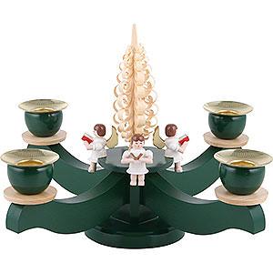 Lichterwelt Kerzenhalter Engel Adventsleuchter grün vier sitzende Engel mit Spanbaum - 22x19 cm