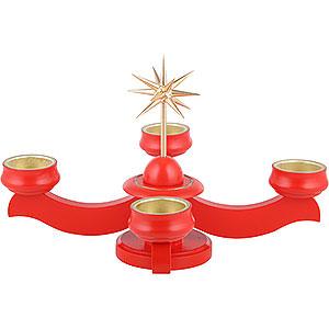 Adventsleuchter mit Weihnachtsstern rot - 19 cm
