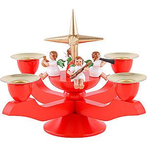 Lichterwelt Kerzenhalter Engel Adventsleuchter rot - 12 cm