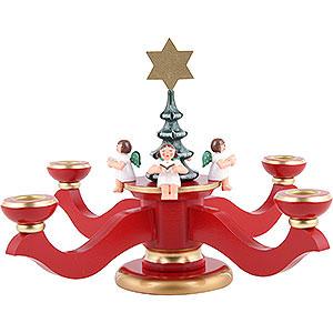Lichterwelt Kerzenhalter Engel Adventsleuchter rot - 20,0 cm