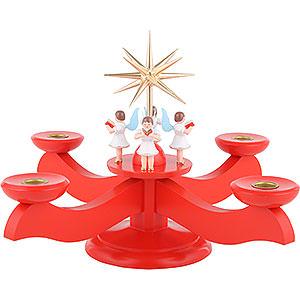 Lichterwelt Kerzenhalter Engel Adventsleuchter rot - 29x29x26 cm