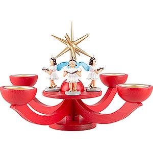 Lichterwelt Kerzenhalter Engel Adventsleuchter rot, mit Teelichthalter und 4 stehenden Engeln - 31x31 cm