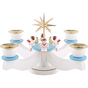 Lichterwelt Kerzenhalter Engel Adventsleuchter weiß/blau mit vier sitzenden Engeln - 22x22x19 cm