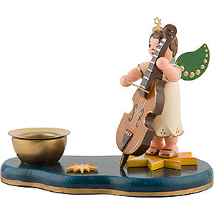 Angels Angels - white (Hubrig) Angel Boy with Doublebass - Candle Holder - 6,5 cm / 2,5 inch