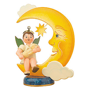 Angels Angels - white (Hubrig) Angel Boy with Moon and Sheep - 20 cm / 8 inch