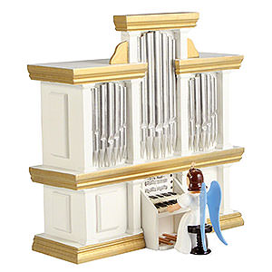 Angels Long Pleated Skirt Angels colored (Blank) Angel Long Pleated Skirt at the Organ with Music Box, Colored - 15,5 cm / 6.1 inch