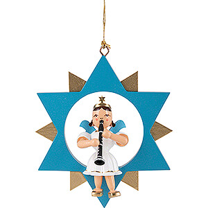 Tree ornaments All tree ornaments Angel Short Skirt with Clarinet in Star - Colored - 9 cm / 3.5 inch