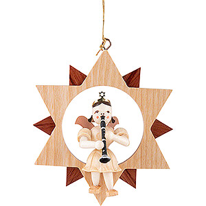Tree ornaments All tree ornaments Angel Short Skirt with Clarinet in Star - Natural - 9 cm / 3.5 inch