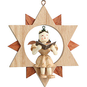 Tree ornaments All tree ornaments Angel Sitting in a Star Singer, Natural - 9 cm / 3.5 inch
