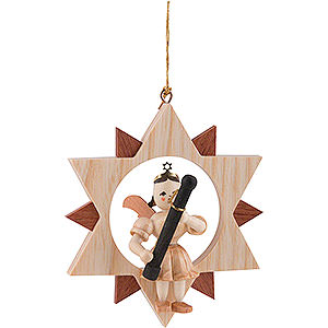 Tree ornaments All tree ornaments Angel Sitting in a Star with Bassoon, Natural - 9 cm / 3.5 inch