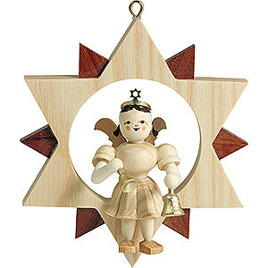 Tree ornaments All tree ornaments Angel Sitting in a Star with Bells, Natural - 9 cm / 3.5 inch