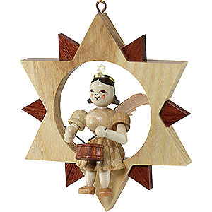 Tree ornaments All tree ornaments Angel Sitting in a Star with Drum, Natural - 9 cm / 3.5 inch