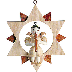 Tree ornaments All tree ornaments Angel Sitting in a Star with Flute, Natural - 9 cm / 3.5 inch
