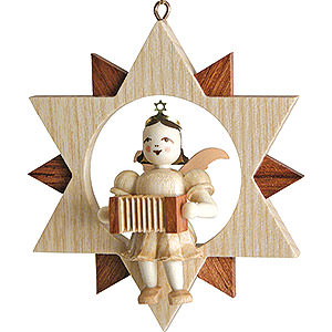 Tree ornaments All tree ornaments Angel Sitting in a Star with Harmonica, Natural - 9 cm / 3.5 inch