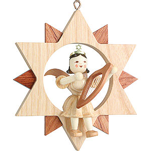 Tree ornaments All tree ornaments Angel Sitting in a Star with Lyre, Natural - 9 cm / 3.5 inch