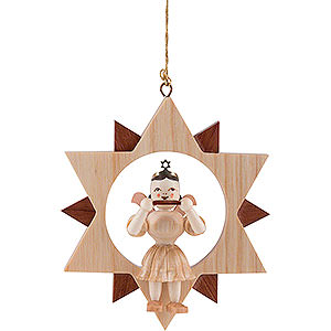 Tree ornaments All tree ornaments Angel Sitting in a Star with Mouth Organ, Natural - 9 cm / 3.5 inch