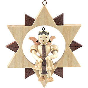 Tree ornaments All tree ornaments Angel Sitting in a Star with Oboe, Natural - 9 cm / 3.5 inch