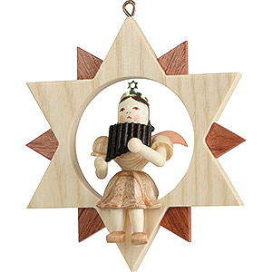 Tree ornaments All tree ornaments Angel Sitting in a Star with Pan Pipe, Natural - 9 cm / 3.5 inch