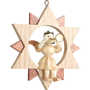 Tree ornaments All tree ornaments Angel Sitting in a Star with Trumpet, Natural - 9 cm / 3.5 inch