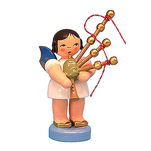 Angels Angels - blue wings - small Angel Standing with Blue Wings and Bagpipe - 7 cm / 2,76 inch