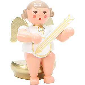 Angels Orchestra white & gold (Ulbricht) Angel White/Gold Sitting with Banjo - 5,5 cm / 2 inch