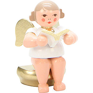Angels Orchestra white & gold (Ulbricht) Angel White/Gold Sitting with Book - 5,5 cm / 2 inch