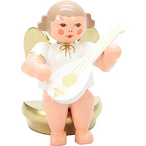 Angels Orchestra white & gold (Ulbricht) Angel White/Gold Sitting with Lute - 5,5 cm / 2 inch