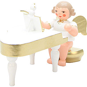 Angels Orchestra white & gold (Ulbricht) Angel White/Gold with Piano - 6,0 cm / 2 inch