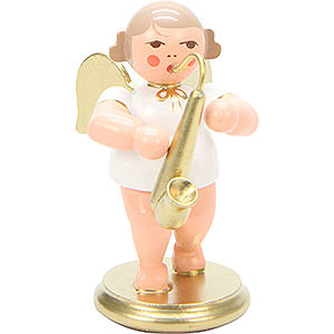 Angels Orchestra white & gold (Ulbricht) Angel White/Gold with Saxophone - 6,0 cm / 2 inch