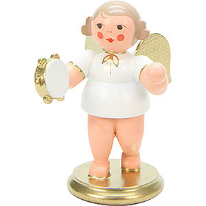 Angels Orchestra white & gold (Ulbricht) Angel White/Gold with Tamburine - 6,0 cm / 2 inch