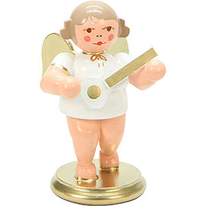 Angels Orchestra white & gold (Ulbricht) Angel White/Gold with Ukulele - 6 cm / 3 inch