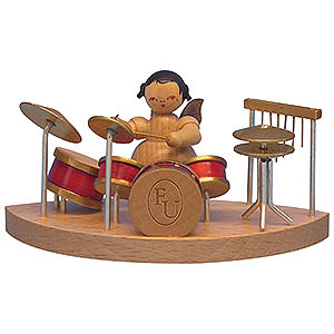 Angels Angels - natural - small Angel at Drums Fitting Cloud Connector System - Natural Colors - Standing - 6 cm / 2,3 inch