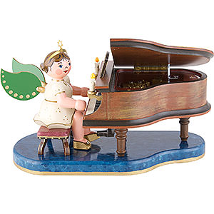 Angels Angels - white (Hubrig) Angel at Piano with Music Box - 16 cm / 6 inch