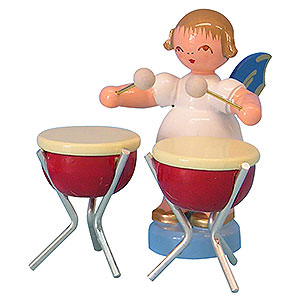 Angels Angels - blue wings - small Angel with 2 Timbals - Blue Wings - Standing - 6 cm / 2,3 inch