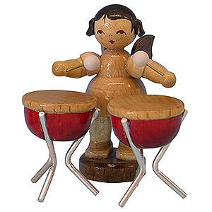 Angels Angels - natural - small Angel with 2 Timbals - Natural Colors - Standing - 6 cm / 2,3 inch