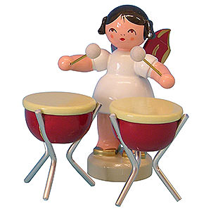 Angels Angels - red wings - small Angel with 2 Timbals - Red Wings - Standing - 6 cm / 2,3 inch
