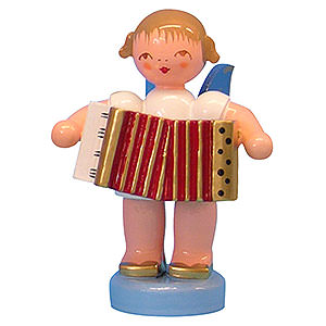 Angels Angels - blue wings - small Angel with Accordion - Blue Wings - Standing - 6 cm / 2,3 inch