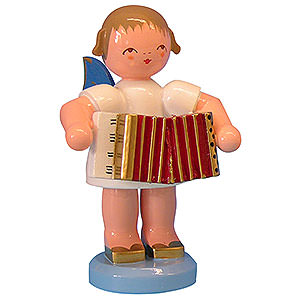 Angels Angels - blue wings - large Angel with Accordion - Blue Wings - Standing - 9,5 cm / 3,7 inch