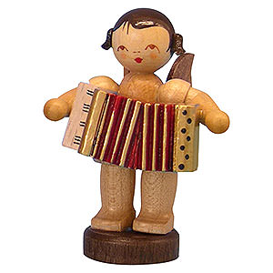 Angels Angels - natural - small Angel with Accordion - Natural Colors - Standing - 6 cm / 2,3 inch