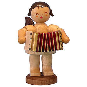Angels Angels - natural - large Angel with Accordion - Natural Colors - Standing - 9,5 cm / 3,7 inch