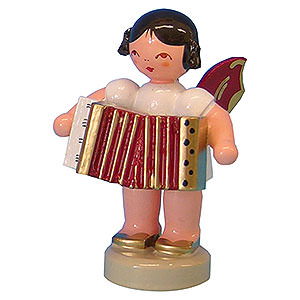 Angels Angels - red wings - small Angel with Accordion - Red Wings - Standing - 6 cm / 2,3 inch