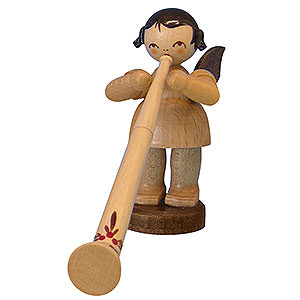 Angels Angels - natural - small Angel with Alphorn - Natural Colors - Standing - 6 cm / 2,3 inch