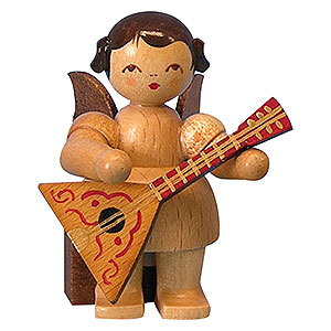 Angels Angels - natural - small Angel with Balalaika - Natural Colors - Sitting - 5 cm / 2 inch