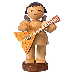 Angels Angels - natural - small Angel with Balalaika - Natural Colors - Standing - 6 cm / 2,3 inch