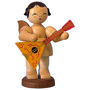 Angels Angels - natural - large Angel with Balalaika - Natural Colors - Standing - 9,5 cm / 3,7 inch