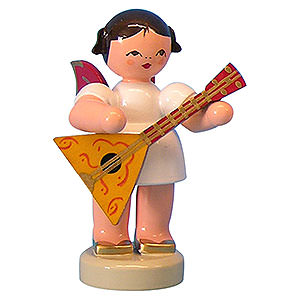 Angels Angels - red wings - small Angel with Balalaika - Red Wings - Standing - 6 cm / 2,3 inch