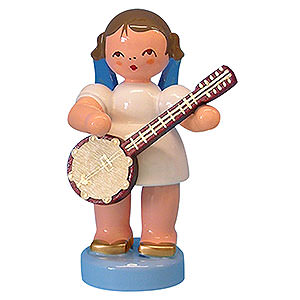 Angels Angels - blue wings - small Angel with Banjo - Blue Wings - Standing - 6 cm / 2,3 inch