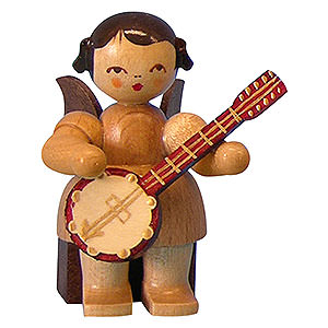Angels Angels - natural - small Angel with Banjo - Natural Colors - Sitting - 5 cm / 2 inch